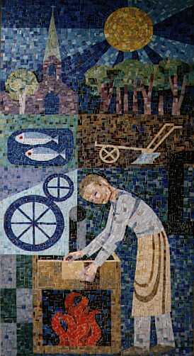 Mosaik nach einem Entwurf von Carl Lambertz an unserem Hause in der Rosenstraße 1